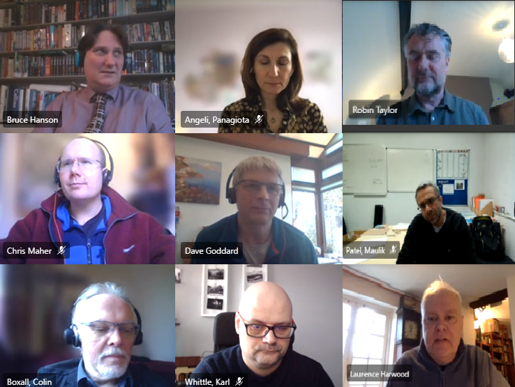 Screenshot taken of the ATLANTIC consortium's virtual meeting, showing nine people on camera for the event.