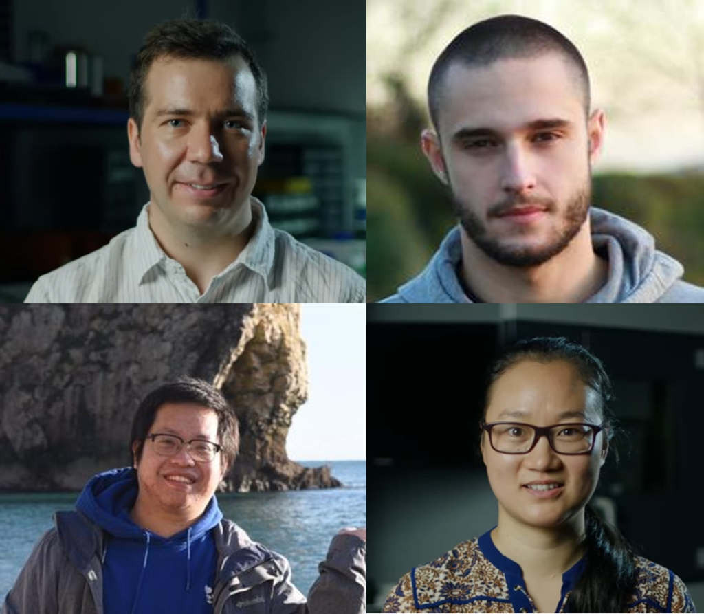 Photos of AFCP's coated particle fuel team at the University of Bristol, clockwise from top left: Dr Alex Leide, Paul Forna Kreutzer, Dr Lilly Liu, Guanjie Yuan