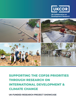 Cover of UKCDR's booklet titled Supporting the COP26 Priorities through Research on International Development & Climate Change.