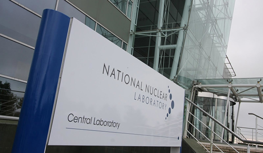 Photograph of the entrance sign at the National Nuclear Laboratory Central Laboratory site.