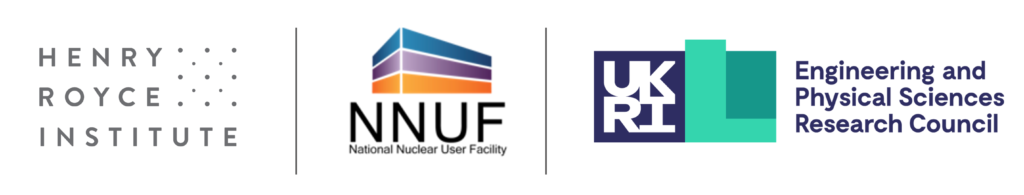 Logos for the Henry Royce Institute, National Nuclear User Facility, and Engineering and Physical Sciences Research Council.