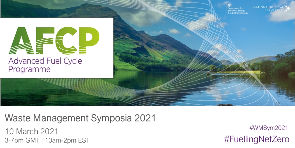 """Photograph of landscape in Cumbria with green mountains behind a blue lake. Over the photograph is AFCP's logo. Under the photograph is the text """"Waste Management Symposia 2021, 10 March 2021, 3-7pm GMT or 10am-2pm EST"""" to indicate when AFCP's session at the event is."""