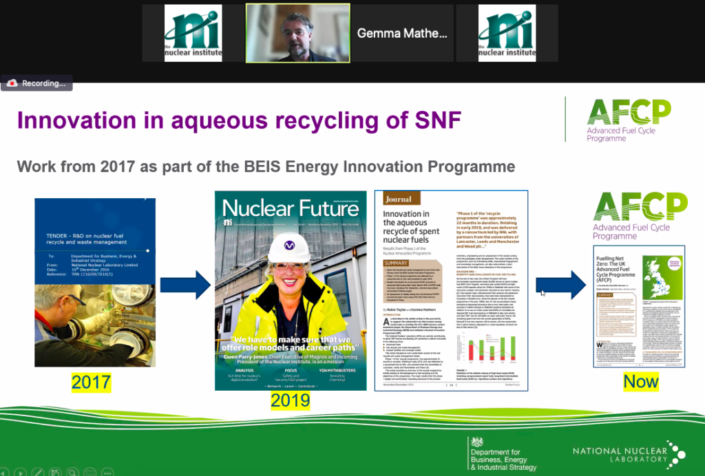 Screenshot of Robin Taylor presenting during the Nuclear Institute 2019 Pinkerton Prize reception webinar. The screenshot shows a PowerPoint presentation with images of the front cover of Nuclear Future magazines from 2017, 2019 and 2021.