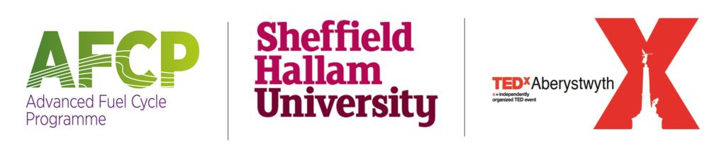 AFCP, Sheffield Hallam University, and TEDx Aberystwyth logos