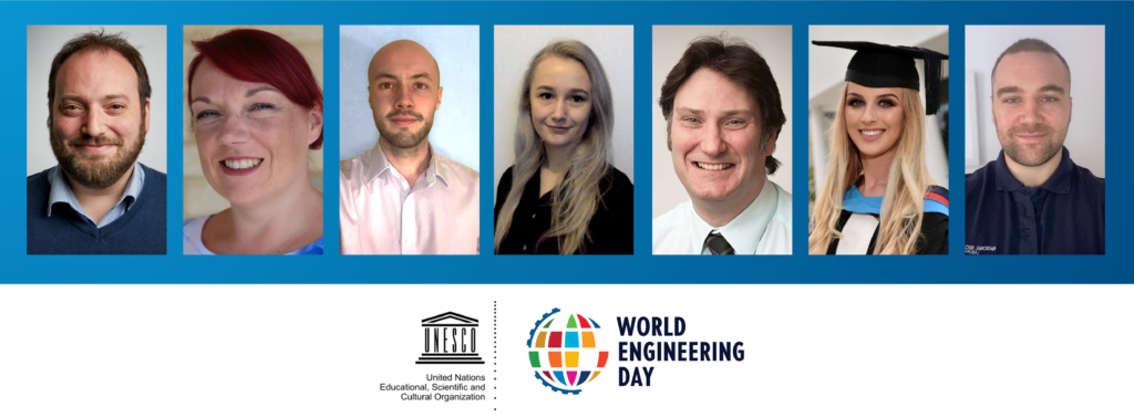 Photographs of the seven people interviewed in this article. Underneath their photos are the logos for UNESCO and World Engineering Day.