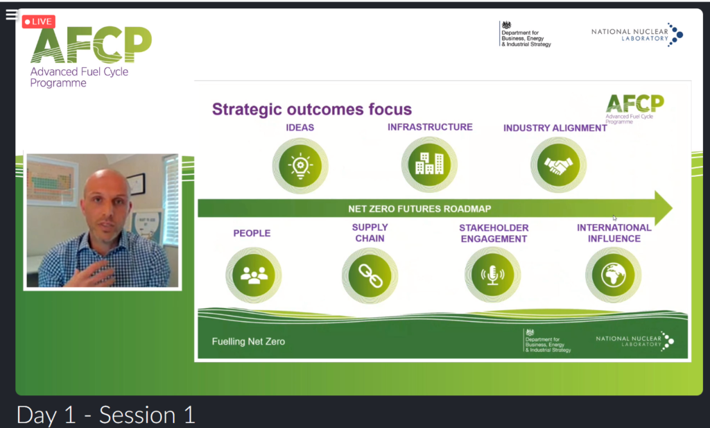 Screenshot of Paul Nevitt, AFCP's Technical Director, speaking at the Quarterly Technical Meeting. He is shown in a small box on the left of the screen. On the right is a PowerPoint presentation showing AFCP's strategic outcome areas (Net Zero roadmap, people, ideas, infrastructure, supply chain, stakeholder engagement, industry alignment, and international influence).