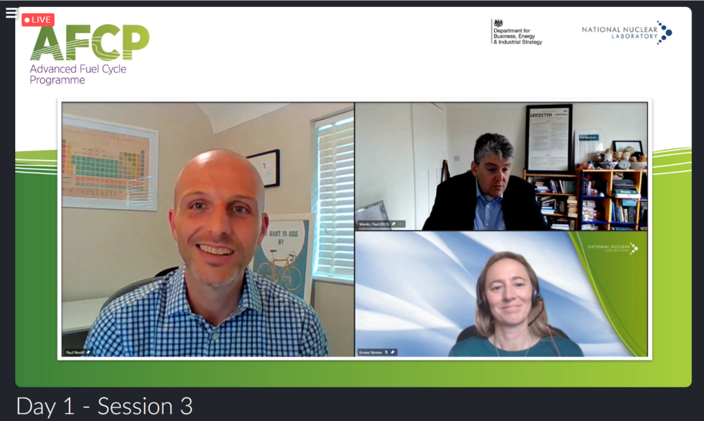 Screenshot from AFCP's Quarterly Technical Meeting showing Professor Paul Monks, AFCP Technical Director Paul Nevitt and AFCP Programme Manager Emma Vernon talking on a video call.