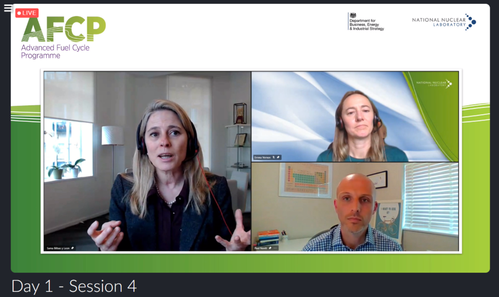 Screenshot from AFCP's Quarterly Technical Meeting showing Sama Bilbao y Leon, AFCP Technical Director Paul Nevitt and AFCP Programme Manager Emma Vernon talking on a video call.