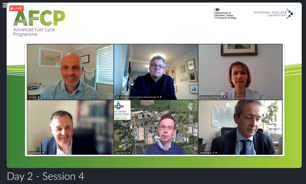 Screenshot of AFCP's panel discussion, showing images of the following people speaking on video call: Paul Nevitt (shown top left) moderated the panel of Si Dilks (shown top centre), Tatiana Ivanova (shown top right), Gareth Headdock (shown bottom left), David Eaves (shown bottom centre) and Stefano Monti (shown bottom right).