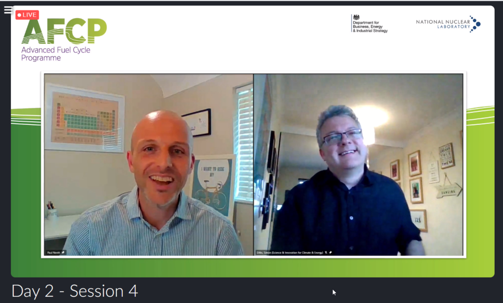 Screenshot of Paul Nevitt and Si Dilks, both smiling, speaking at AFCP's Quarterly Technical Meeting.