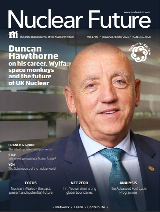 Screenshot of the front cover of Nuclear Future's January/February issue. It shows the publication title and a large photo of Duncan Hawthorne smiling and looking into the camera.