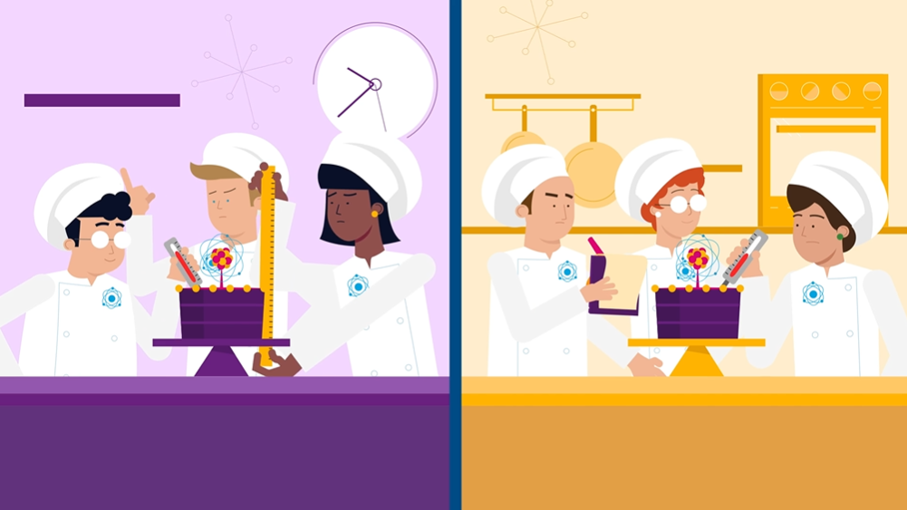 A still from AFCP's Nuclear Data animation, showing a split screen image. On the left are three people baking a cake in front of a purple-coloured kitchen background. On the right are three more people, also baking a cake but in front of an orange-coloured background.