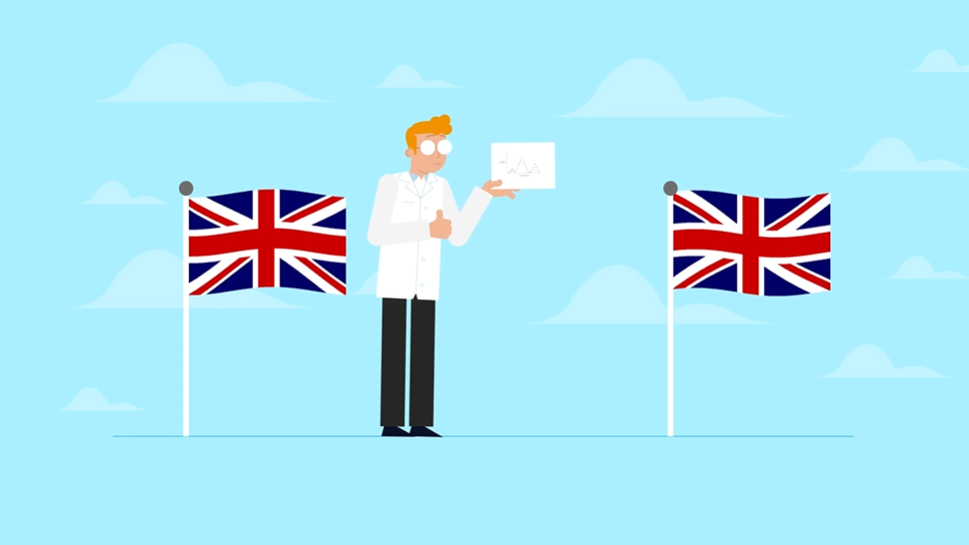 Still from AFCP's Nuclear Data animation. It shows a man standing in front of a blue background, holding a piece of paper that he's drawn graphs on. On either side of him are UK flags. He is about to share the paper with people from other countries.