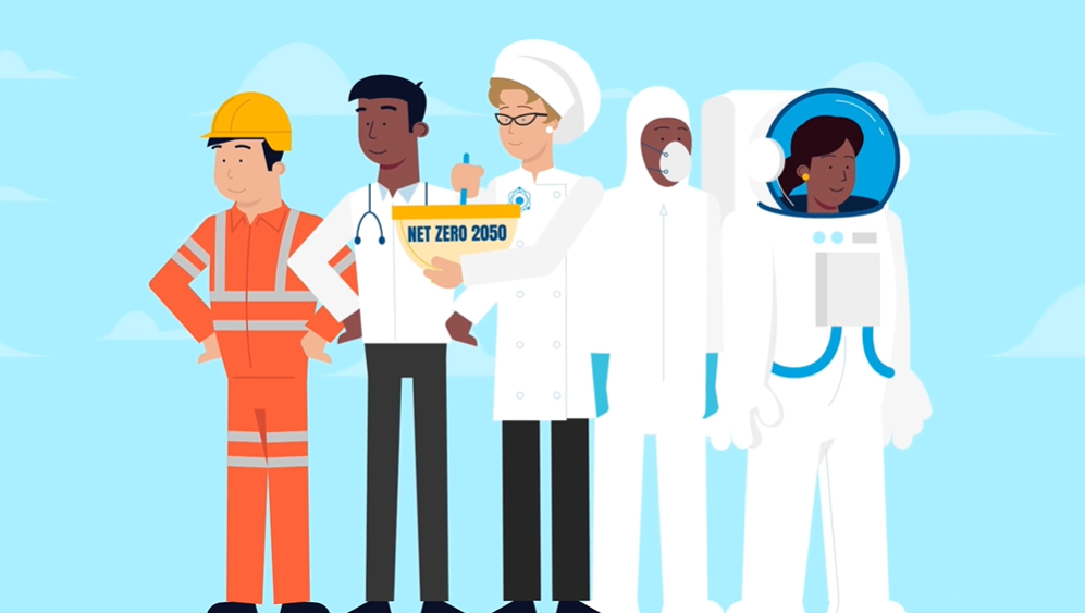 """Still image from AFCP's Nuclear Data animation. It shows a blue background with 5 people standing in front of it, facing the camera. The people are wearing uniforms to match the respective industries that they represent: The man on the left wears an orange construction uniform, then a doctor wears a medical uniform, a baker wears a baking cap while stirring a bowl that says """"Net Zero 2050"""" on it, a man wears a hazmat suit, and a woman wears a spacesuit."""