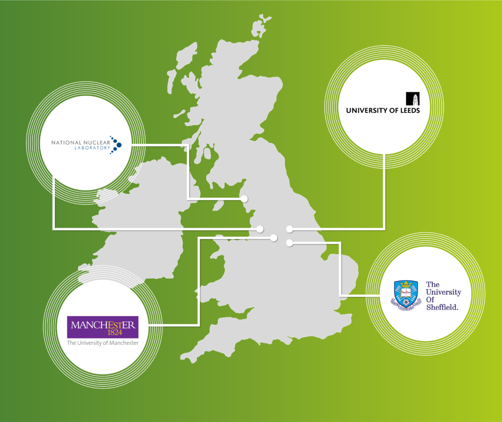 Graphic of UK map over a green background, with icon bubbles pointing to the locations of AFCP's Off-gas Capture project: the National Nuclear Laboratory, University of Manchester, University of Sheffield and University of Leeds