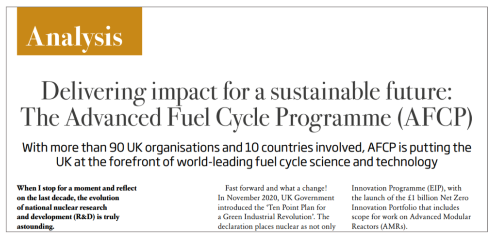 Screenshot of the title of Paul Nevitt's Analysis paper, showing the words: Delivering impact for a sustainable future: The Advanced Fuel Cycle Programme (AFCP)