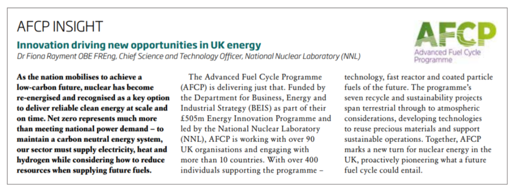 Screenshot of AFCP's column in Nuclear Future, showing the title: AFCP Insight: Innovation driving new opportunities in the UK.