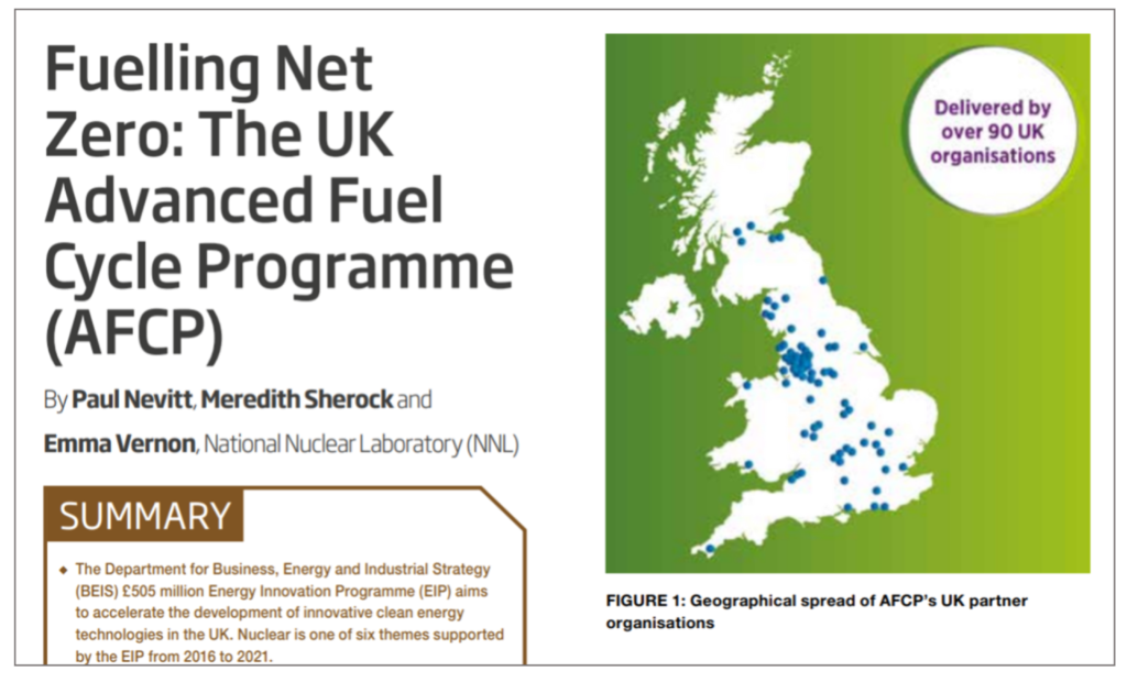 """Screenshot of the title of AFCP's technical paper, showing the words: """"Fuelling Net Zero: The UK Advanced Fuel Cycle Programme (AFCP)"""""""