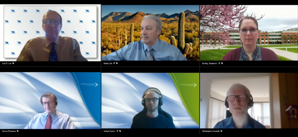Screenshot of the AFCP session at WMS, showing six speakers looking into their cameras and smiling.