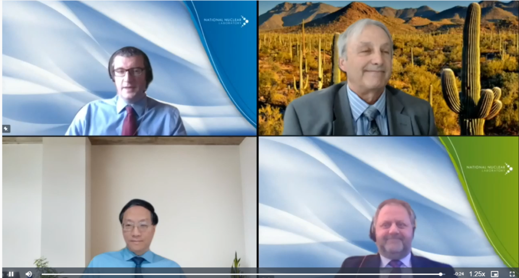 Screenshot of the AFCP session at WMS, showing four speakers looking into their cameras and smiling.