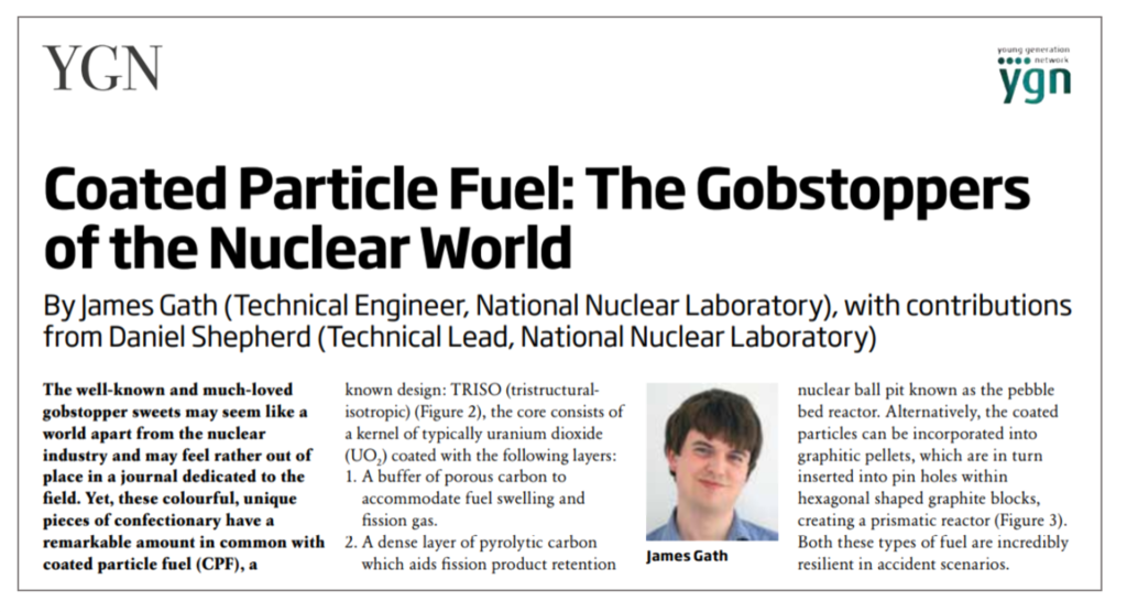 Screenshot of AFCP's Young Generation Network (YGN) story, showing a photo of author James Gath and the title: Coated Particle Fuel: The Gobstoppers of the Nuclear World