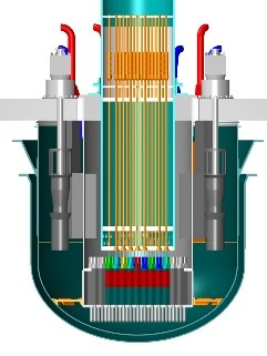 A digital image showing the Westinghouse Lead Fast Reactor from a side view
