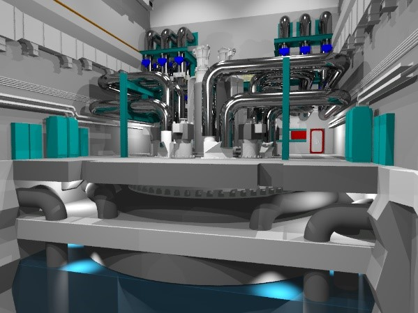 A digital image of the Westinghouse Lead Fast Reactor, showing grey machinery with teal accents throughout.
