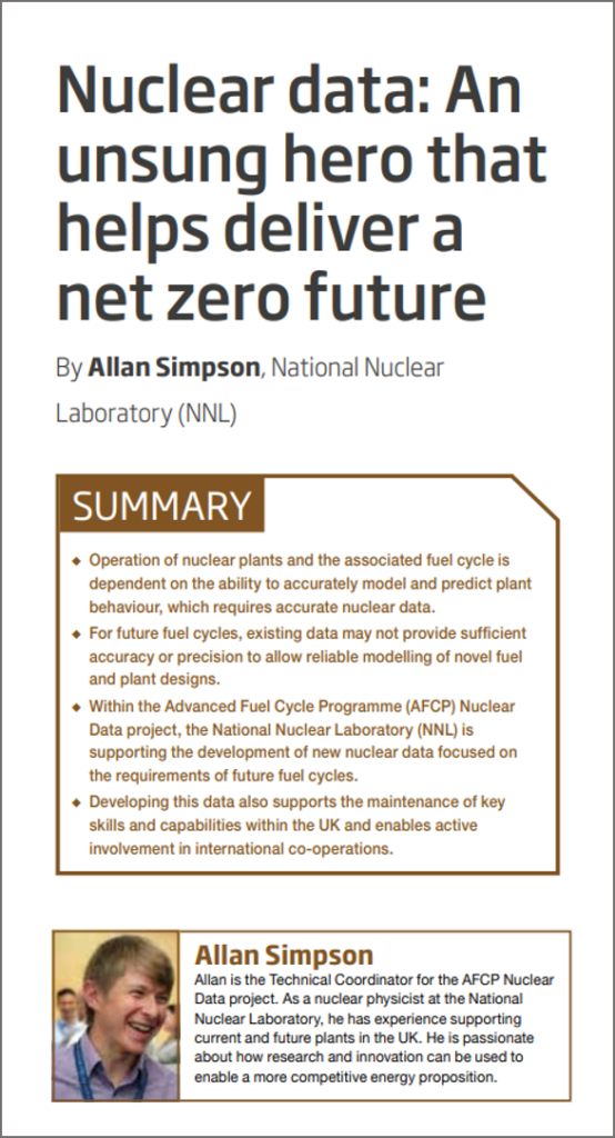 Screenshot of Allan Simpson's technical paper in Nuclear Future, showing the title: Nuclear data: The unsung hero that helps deliver a net zero future.