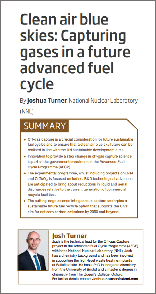 Screenshot of Josh Turner's paper in Nuclear Future, showing the title: Clean air blue skies: Capturing gases in a future advanced fuel cycle.