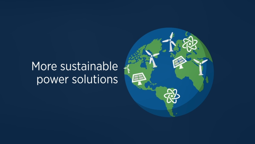 Scene from AFCP's Pyro-processing animation showing a globe with icons for wind turbines, solar panels and nuclear energy scattered across  it. Next to the world is text that reads: More sustainable power solutions.