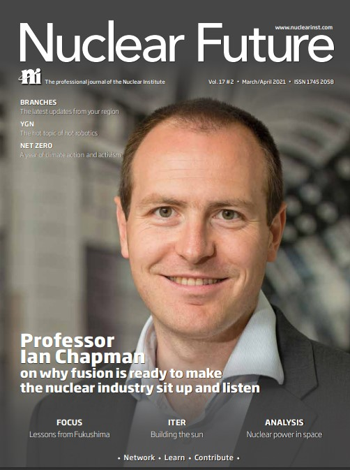 Front cover of the March/April issue of Nuclear Future.