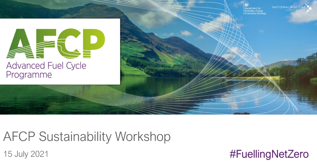 AFCP logo over a photograph of a Cumbria landscape. Underneath is the text: AFCP Sustainability Workshop, 15 July 2021, #FuellingNetZero.