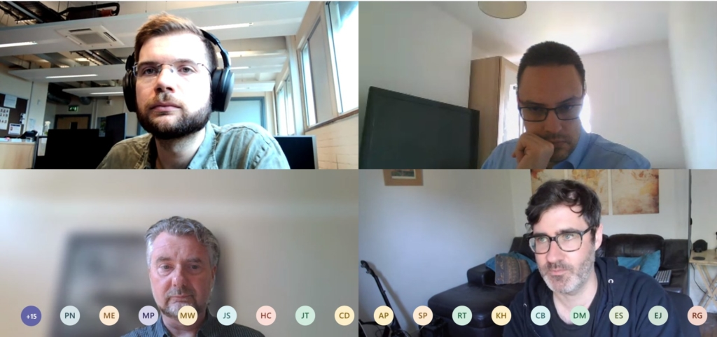 Screenshot of AFCP's virtual workshop, showing Nathan Read (top left), Will Bodel (top right), Robin Taylor (bottom left) and Ian Tellam (bottom right).