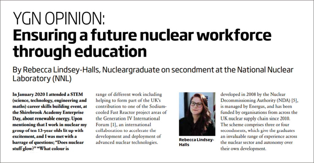 Screenshot of Rebecca Lindsey-Halls' Nuclear Future headline, showing the title: Ensuring a future nuclear workforce through education.